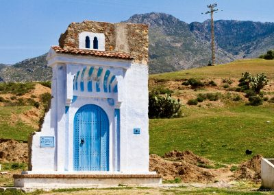 The blue door at the entrance to Chefchaouen in the Rif Mountains of Morocco