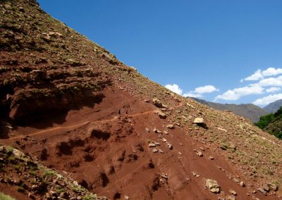 Walking trail down to the Berber village of Amskerou in the High Atlas Mountains of Morocco