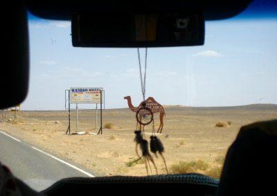 Arriving in Merzouga near the Erg Chebbi dunes of the Sahara Desert in Morocco