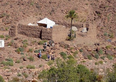 Arriving to the campsite - an old abandoned kasbah in Jebel Saghro mountain range in Morocco
