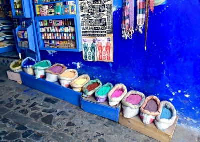 Bags of colour in Chefchaouen in Morocco