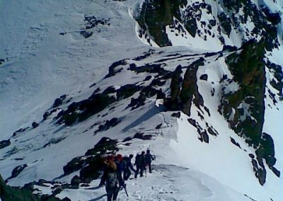 Coming down from Jebel Ouanakrim on a private guided winter trek with Experience Morocco