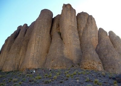 Gigantic volcanic rock formations in Jebel Saghro mountain range in Morocco