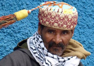 Gnawa musician in Rabat's old town Kasbah des Oudaias