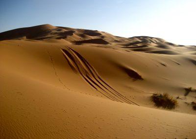 Golden dunes in the Sahara Desert in Morocco