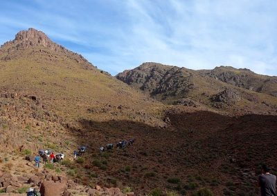 Hiking across Jebel Saghro mountain range on a private guided hike with Experience Morocco