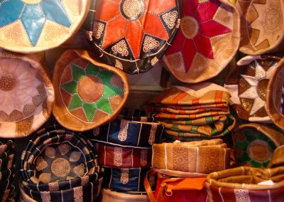 Leather goods for sale at Chouara Tannery in Fes in Morocco