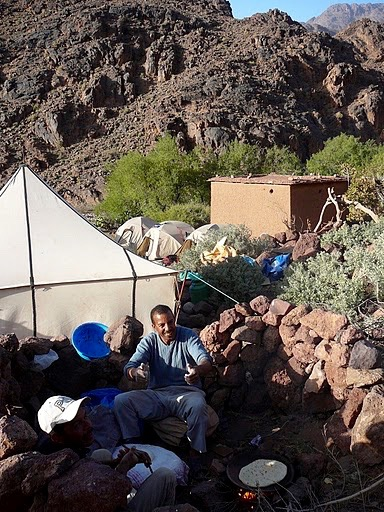 Making bread on a guided hike in Jebel Saghro mountain range with Experience Morocco
