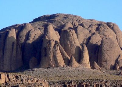 Volcanic rock formations in Jebel Saghro mountain range in Morocco