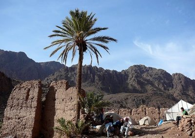 Resting after a good day's hike in Jebel Saghro mountain range in Morocco