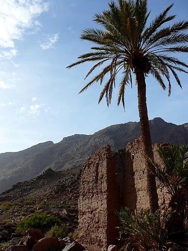 Sunny skies in Jebel Saghro mountain range in Morocco