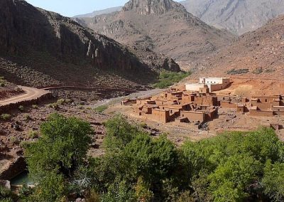 Traditional Berber mud-house village in Jebel Saghro mountain range in the Anti-Atlas of Morocco