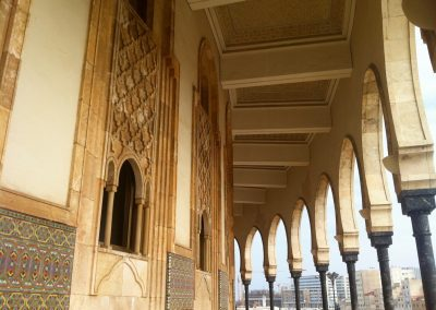 Arches of the Hassan II Mosque in Casablanca in Morocco
