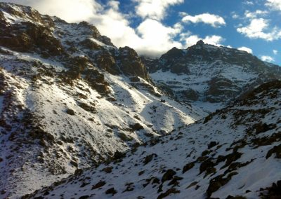 Snow on Jebel Toubkal in the High Atlas Mountains of Morocco