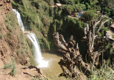 Base of Ouzoud Waterfalls from the walking trail that circles them