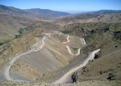 Winding road leading to Tizi n'Tichka on the way to Ait Ben Haddou