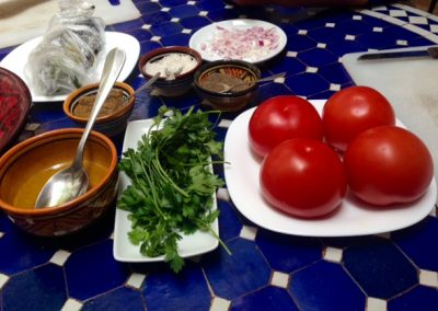 Moroccan salad ingredients used during tagine cooking class in Marrakech with Experience Morocco
