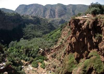 Mountainous landscape surrounding Ouzoud Waterfalls