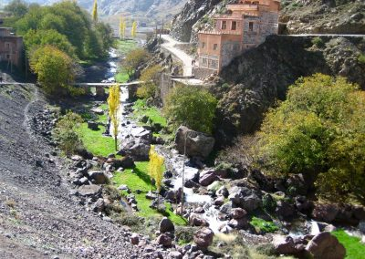 River running through Aremd in Imlil Valley in the High Atlas Mountains of Morocco