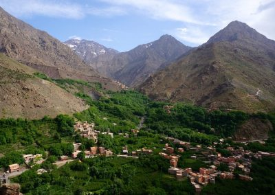 Imlil Valley in the High Atlas Mountains of Morocco with Jebel Toubkal in the distance