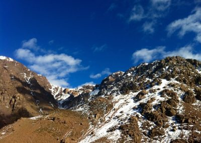 Blue skies of Jebel Toubkal National Park in the High Atlas Mountains of Morocco