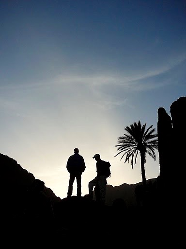 Preparing to hike at dawn in Jebel Saghro mountain range in Morocco