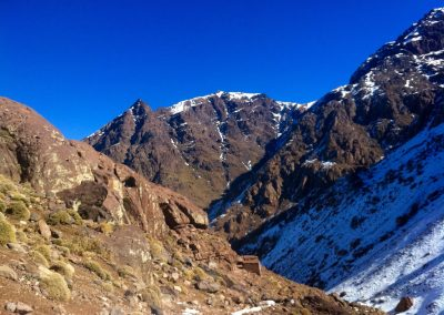 Hiking to the Nelter base camp near Jebel Toubkal in Morocco during winter