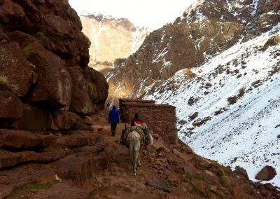 Hiking back from the Nelter base camp near Jebel Toubkal in the High Atlas Mountains of Morocco