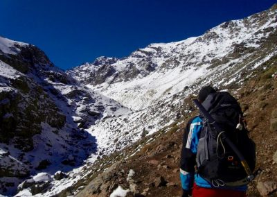 Hiking up to the Nelter base camp near Jebel Toubkal in the High Atlas Mountains