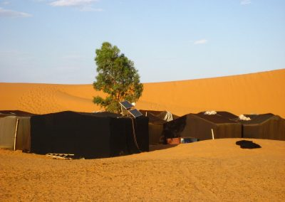 Nomad campsite used for Sahara Desert trek near Merzouga with Experience Morocco