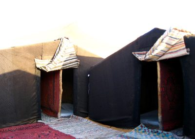 Sleeping tents in a nomad camp in the Sahara Desert