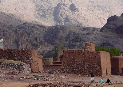 Traditional Berber stone buildings in Jebel Saghro mountain range in the Anti-Atlas of Morocco