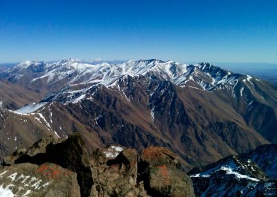 View from Jebel Toubkal summit in the High Atlas Mountains of Morocco
