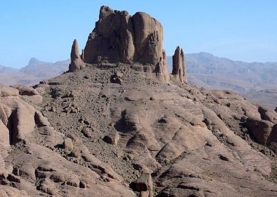 Volcanic rock formation in Jebel Saghro mountain range in Morocco