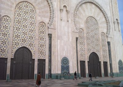 Walking around Hassan II Mosque in Casablanca in Morocco