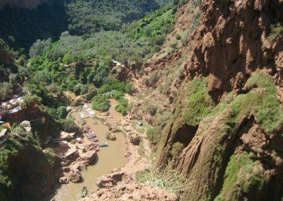 Eroding back wall of Ouzoud Waterfalls