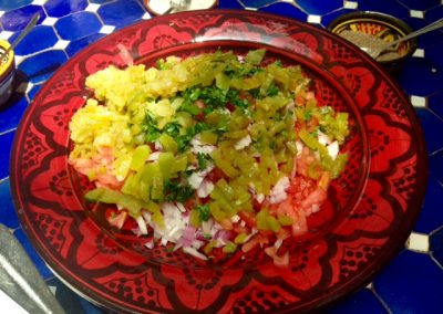 Chopped up Moroccan salad ingredients