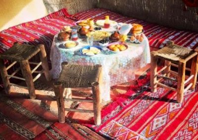 Enjoy a traditional Berber breakfast in a tent after your hot air balloon ride near Marrakech